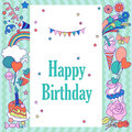 Happy birthday holiday card with stars, sweets, strawberry, flags, cloud, baloons, fireworks, and rainbow on green