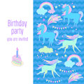 Happy birthday holiday card with unicorns, flags, cloud, fireworks, stars and rainbow on blue background