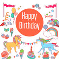 Happy birthday holiday card with unicorns, sweets, strawberry, flags, cloud, baloons, fireworks, stars and rainbow on