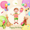 Happy birthday illustration with boy holding a gift box Stock Photo