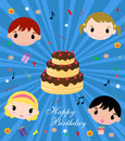 Happy birthday illustration of cute card Stock Photos