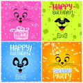 Happy birthday illustration with funny emoticon Stock Photography