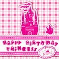 Happy birthday invitation card for girl with princess castle and dove Stock Image