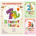 Happy Birthday invitation card template with funny animals from 1 to 3