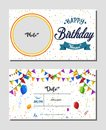 Happy Birthday invitation card template, Vector illustration of birthday party background