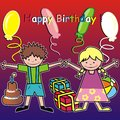 Happy birthday kids card baby motif Royalty Free Stock Photo