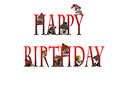 Happy birthday lettering with dogs Royalty Free Stock Photo