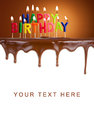 Happy birthday lit candles on chocolate cake template Stock Images