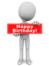 Happy birthday little man wishing holding red banner with white wish text against white background Stock Photo