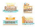 Happy birthday logos set of symbols in retro colors Royalty Free Stock Photography