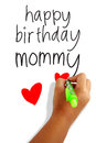 Happy birthday mommy girls hand holding a pen writing greeting card Stock Image