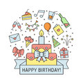 Happy birthday multicolored greeting card with big cake. Outline minimalistic design.