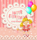 Happy Birthday my little princess - openwork card Royalty Free Stock Images