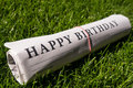 Happy birthday newspaper on meadow Stock Image