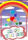 Happy birthday nice greeting card with ballons that flies in a sky with rainbow Royalty Free Stock Photos
