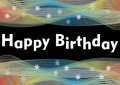 Happy birthday party banner with rainbow horizontal wavy patterns and white transparent stars