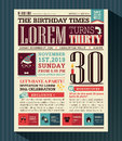 Happy birthday party card design layout in newspaper style vector Royalty Free Stock Photo