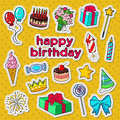 Happy Birthday Party Decoration Doodle with Stickers, Badges and Patches Balloons, Gift and Sweets