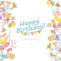 Happy birthday party greeting card invitation funny people chara
