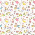 Happy birthday party greeting seamless pattern funny people char