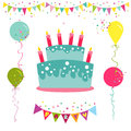 Happy birthday and party invitation card with place for your text in vector Royalty Free Stock Photography