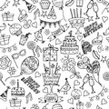 Happy birthday party seamless patterns.