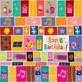 Happy birthday pattern retro illustration Royalty Free Stock Photography