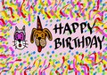 Happy birthday by pets image of carnival with Royalty Free Stock Photos