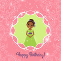 Happy Birthday pink greeting card with princess