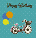 Happy birthday postcard over blue background vector illustration Royalty Free Stock Image