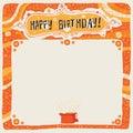 Happy Birthday postcard, poster, background, ornament or invitation.