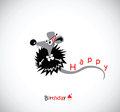 Happy Birthday postcard with your mouse Royalty Free Stock Photo