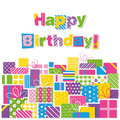 Happy birthday presents greeting card Royalty Free Stock Photo