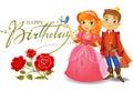 Happy Birthday, Princess and Prince, greeting card.