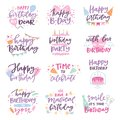 Happy birthday quote anniversary text sign kids birth lettering type with calligraphy letters or textual font for