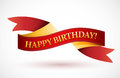 Happy birthday red waving ribbon banner illustration design over white Royalty Free Stock Images