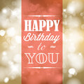 Happy birthday retro vector illustration with lights in background Royalty Free Stock Photos
