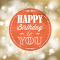 Happy birthday retro vector illustration with lights in background Stock Image