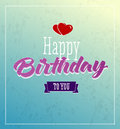 Happy birthday retro vector illustration with red hearts Stock Image