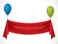 Happy birthday ribbon hanging balloons Royalty Free Stock Photos