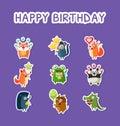 Happy Birthday Set, Cute Funny Animals Stickers with Balloons, Hamster, Monkey, Fox, Squirrel, Frog, Panda, Hedgehog