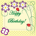 Happy birthday spring floral card Royalty Free Stock Photo
