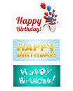 Happy birthday stickers vector illustration Stock Photography