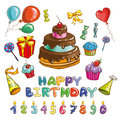 Happy birthday symbols. Candles and cakes set of different cakes Royalty Free Stock Photo