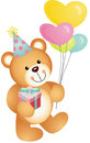Happy birthday teddy bear scalable vectorial image representing a isolated on white Stock Image