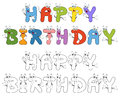 Happy birthday text funny cartoon letters characters isolated white background two versions colorful coloring Stock Photos