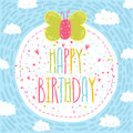Happy birthday text label with butterfly. Royalty Free Stock Photo