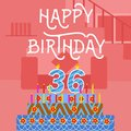 Happy Birthday 36 th old Pink Cake postcard - hand lettering - handmade calligraphy