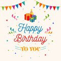 Happy birthday to you background vector. gift box, party hat illustration with flag and confetti ornament.