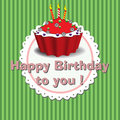 Happy birthday to you colorful background with cake and the text written with pink letters Royalty Free Stock Photography